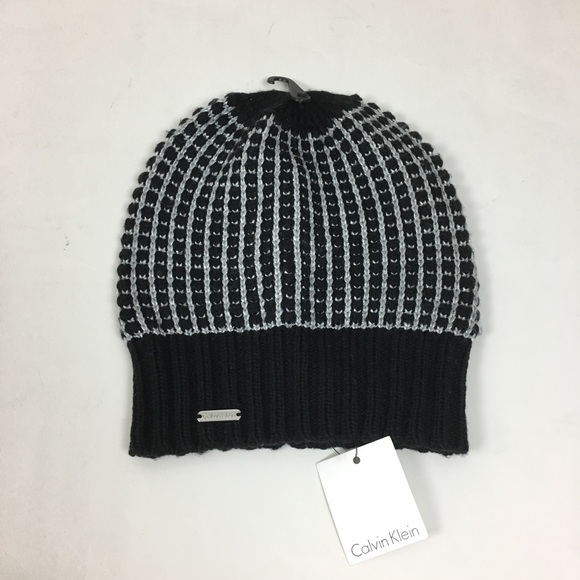 50d124617ca Calvin Klein CK black silver metallic beanie hat